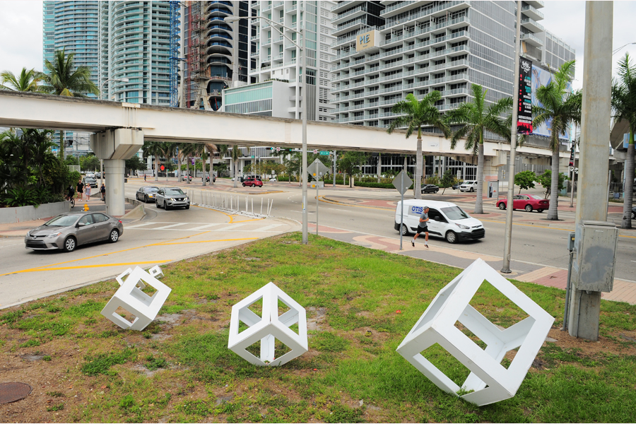 Kubos in action Key Biscayne art installation