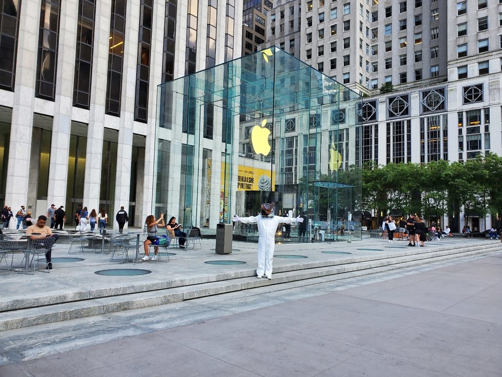 Cube Man in Apple Cube NYC