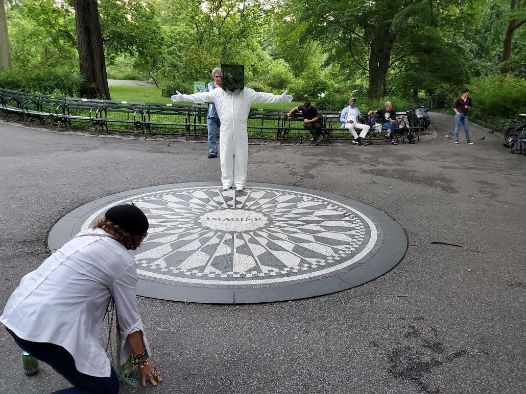 Cube Man, Strawberry Fields John Lennon Memorial Central Park in New York City