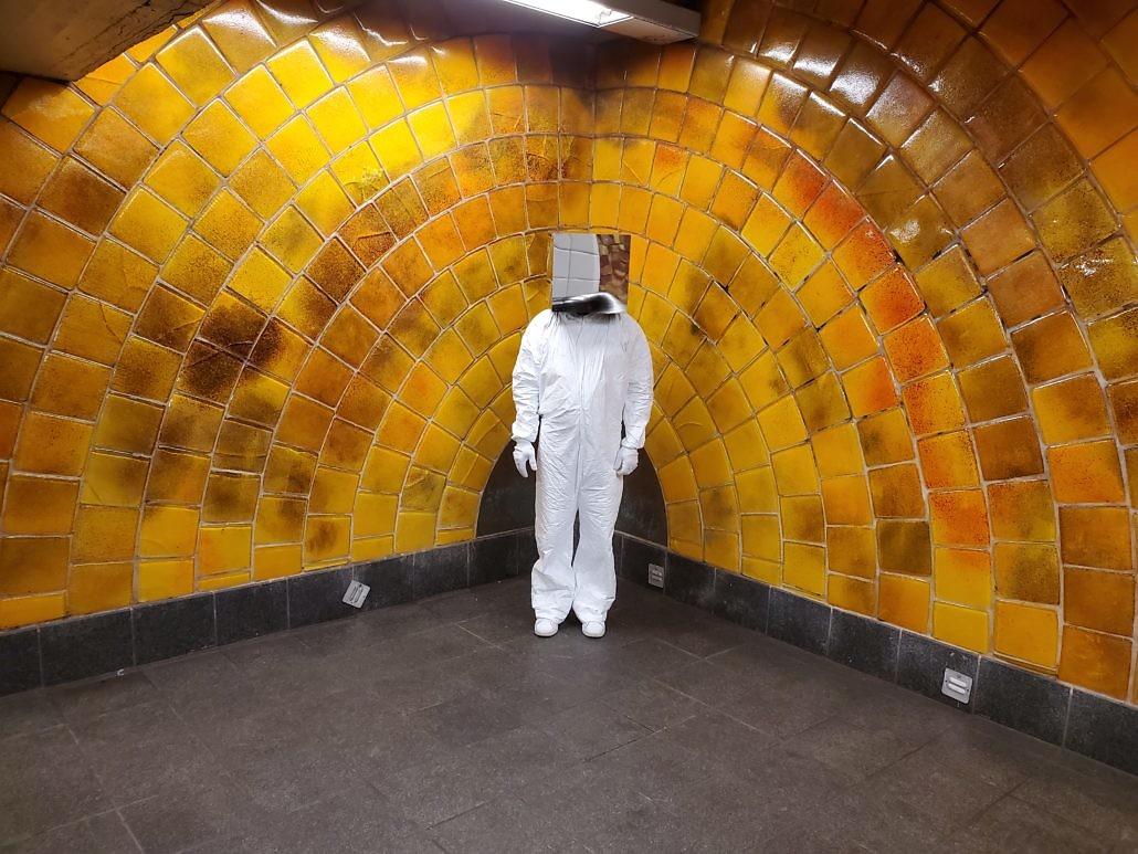 Cube Man in New York City Subway
