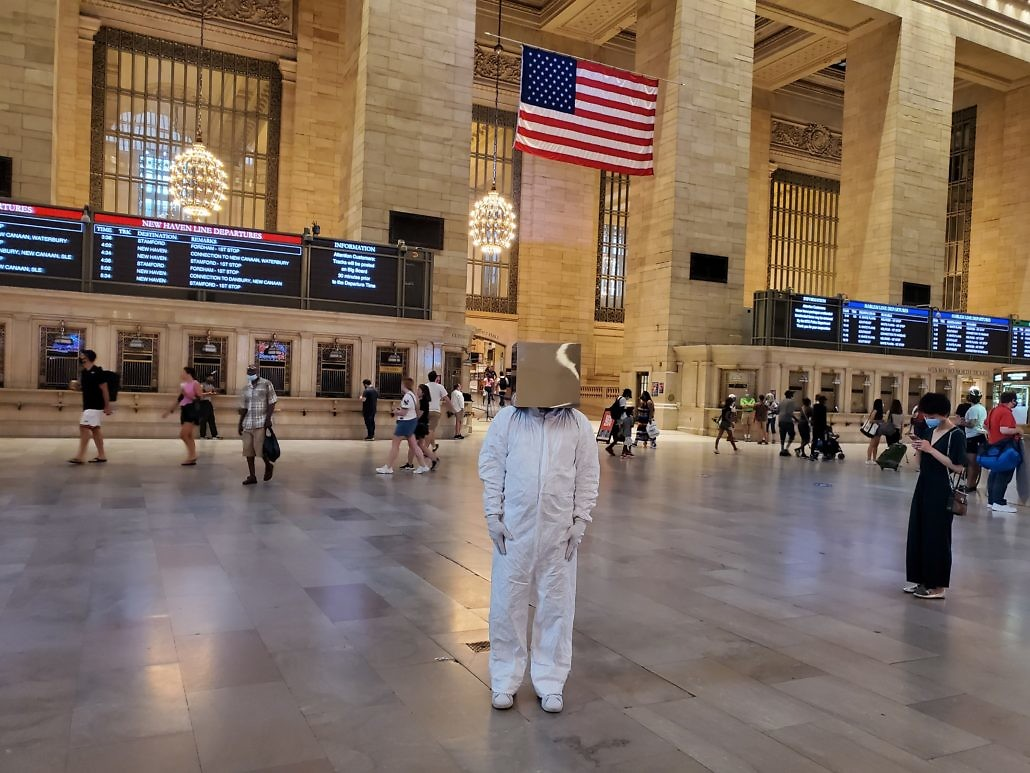 Cube Man in Grand Central Terminal 42nd Street and Park Avenue in Midtown Manhattan, New York City