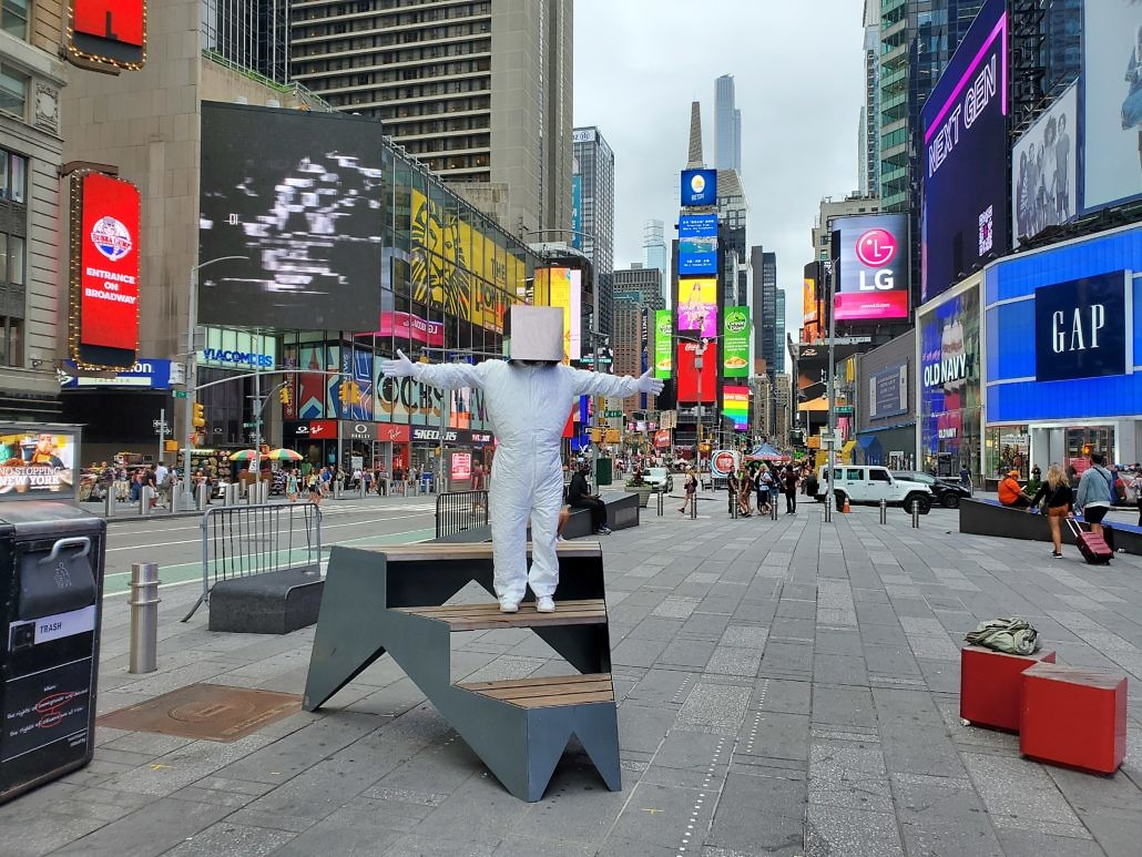 Cube Man in Times Square Plaza in New York City